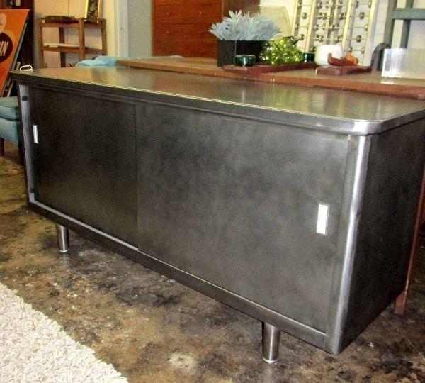 1940-50s metal sliding door credenza, burnished and coated