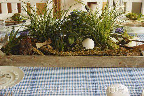 Tischdeko Bepflanztes Holztablett Tischdekoration Osterdeko