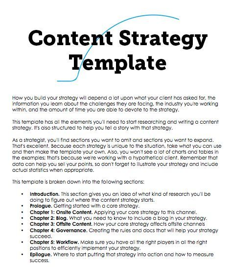 A Content Strategy Template You Can Build On  Content And Content