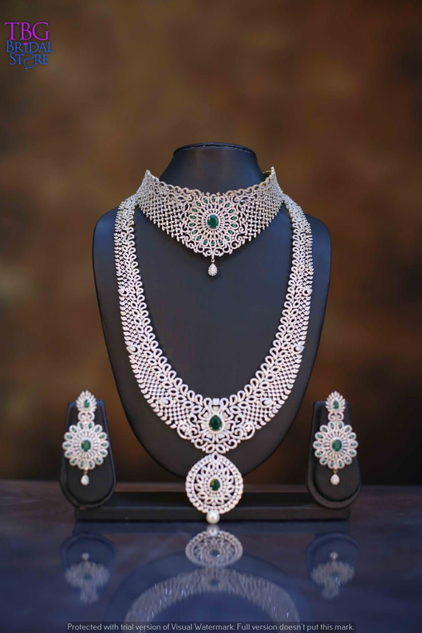 American Diamond Jewellery Bridal Jewellery Earrings Bridal Diamond Jewellery Indian Bridal Jewelry Sets