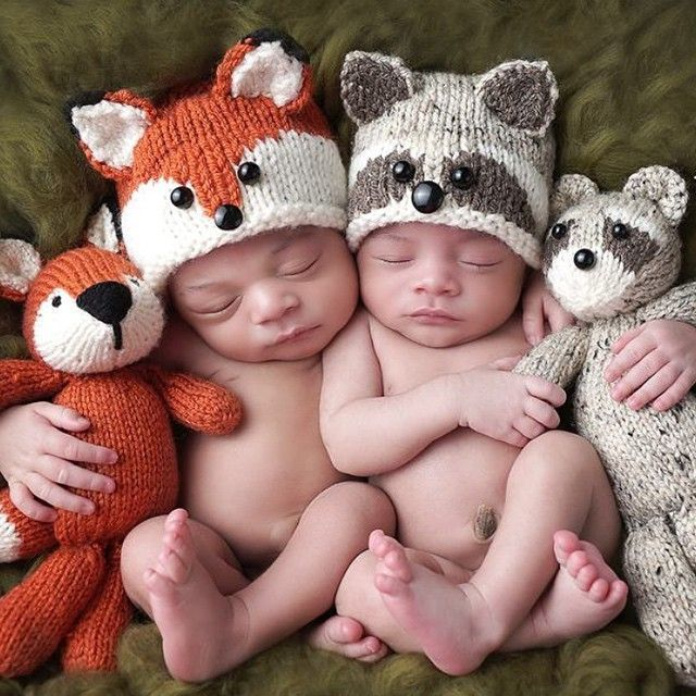 Knit baby Fox and Raccoon hats!