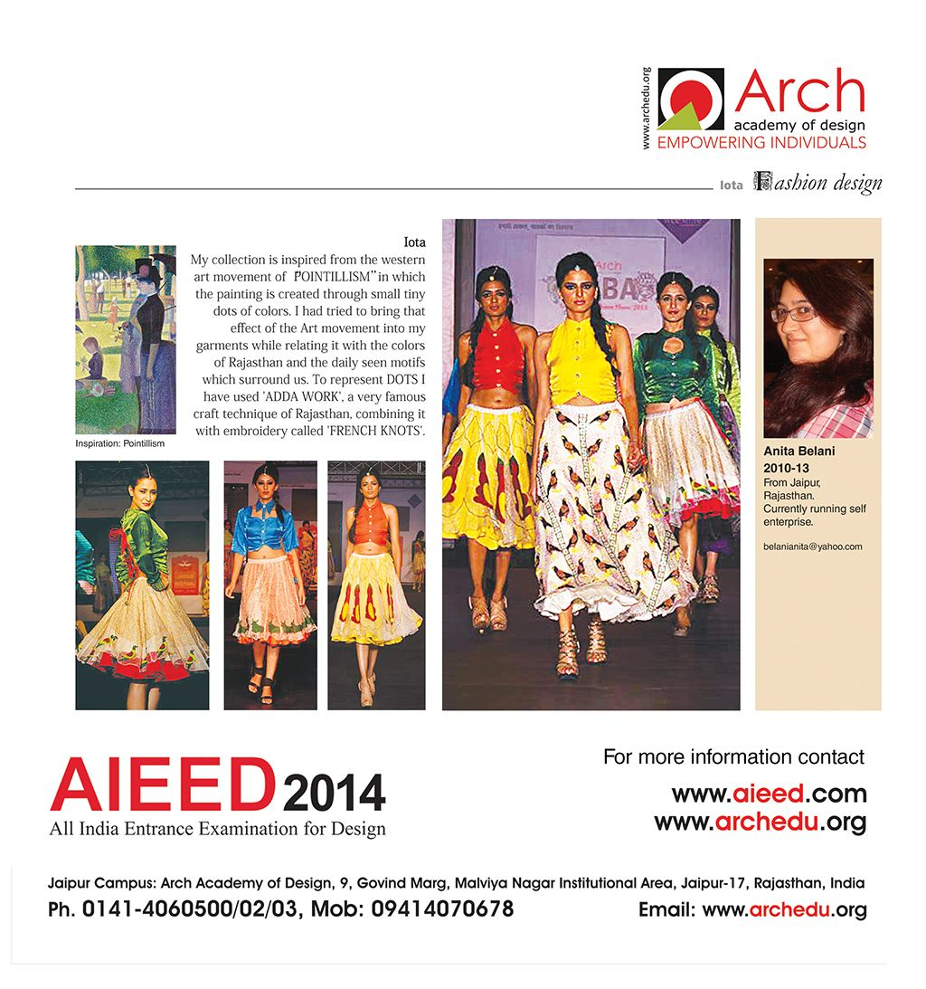 Anita Belani Fashion Designer Aieed 2014 All India Entrance Examination For Design For More Information Contact Www Aiee Western Art Pointillism Art