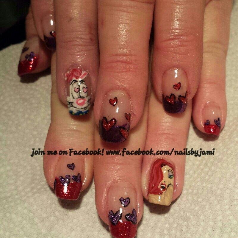 Roger and Jessica Rabbit nails. Valentine\'s Day Nail art, nail art ...