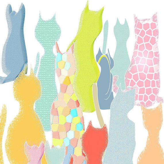 Baby girl nursery art cat art Abstract art print by OzscapeDesigns ...