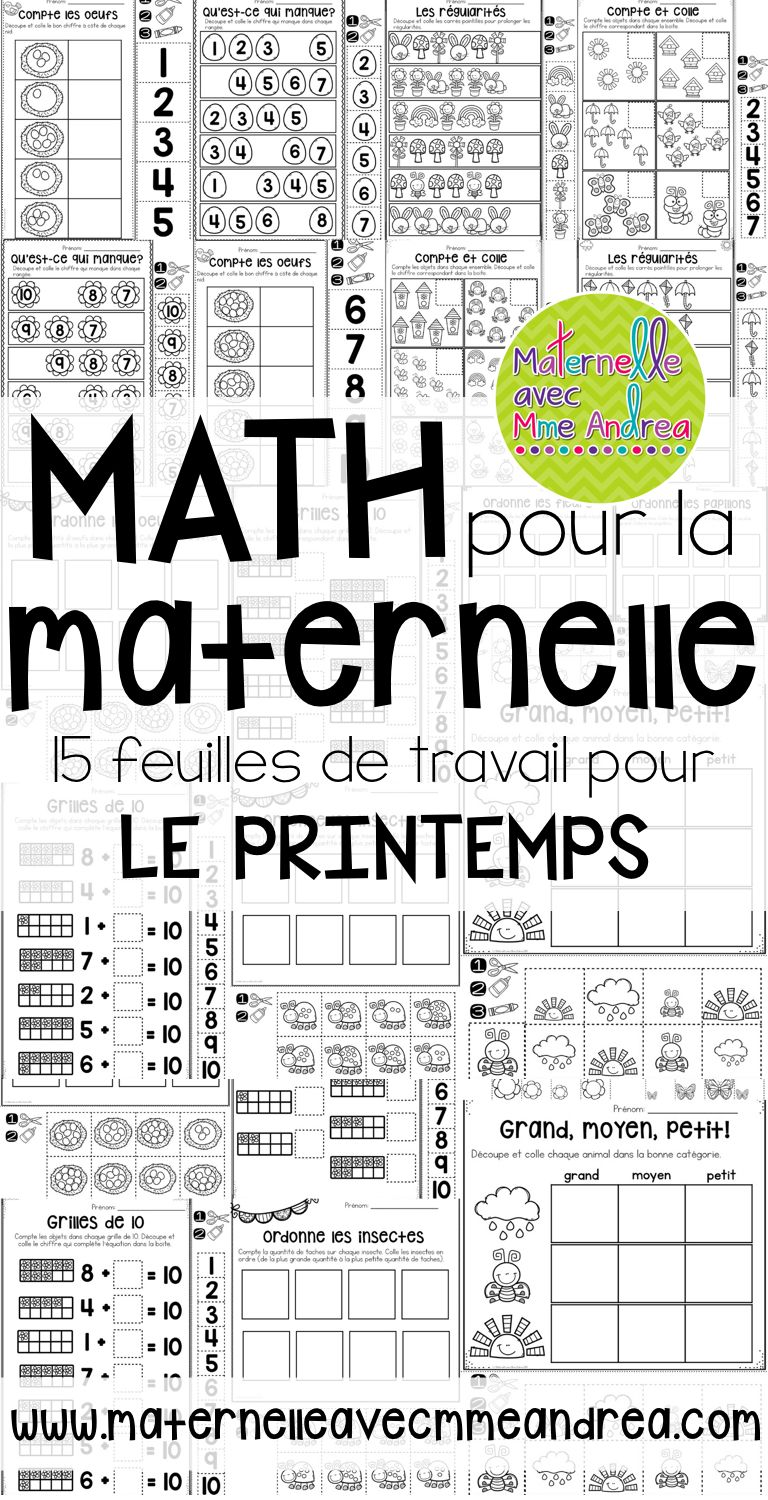 FRENCH Spring No Prep Math Worksheets (Cut & Paste ...