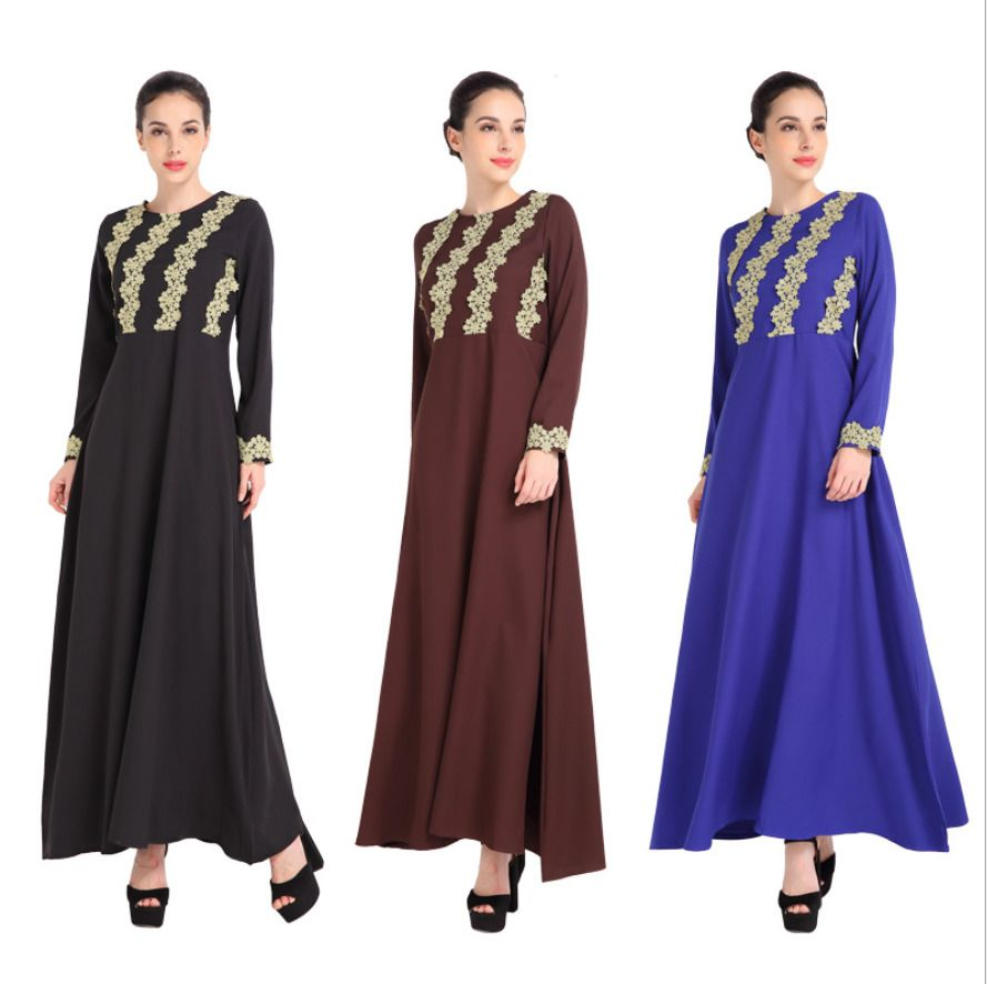 Women islamic muslim kaftan abaya embroider stitching long sleeve