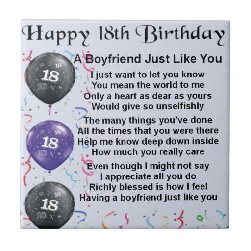 Boyfriend Poem 18th Birthday Tile Zazzle Co Uk 21st Birthday Quotes 30th Birthday Wishes Happy 21st Birthday Wishes