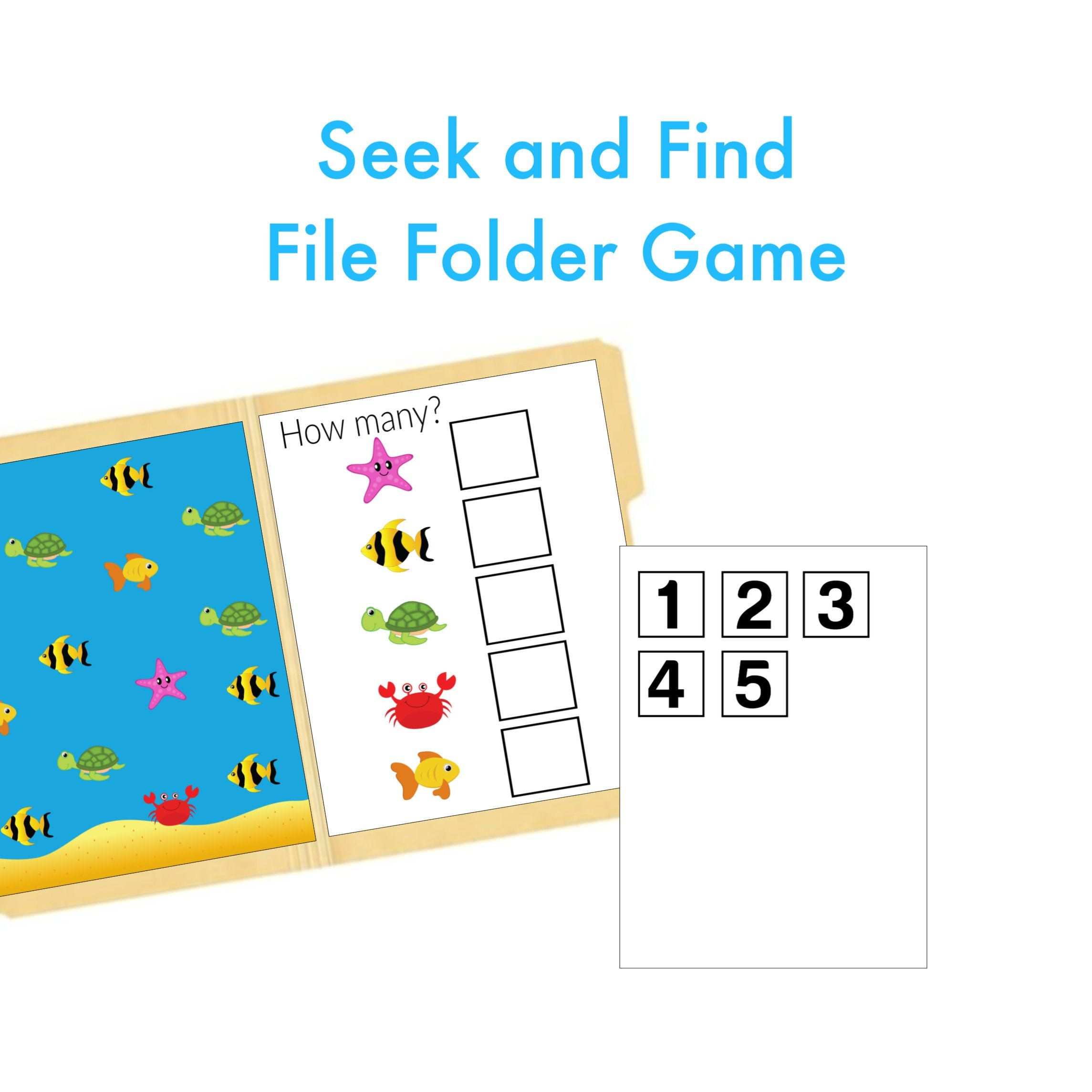 Numbers File Folder Game Printable Worksheet Quiet Book Activity