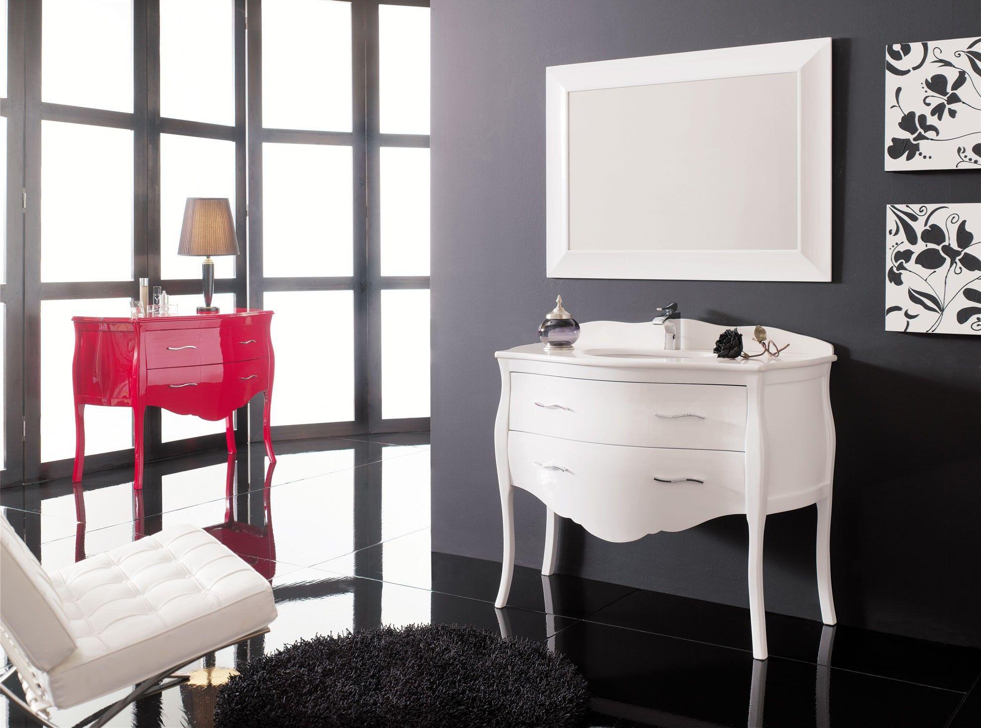 Mueble de baño Luis XV blanco brillo 90 cm. | Muebles | Pinterest