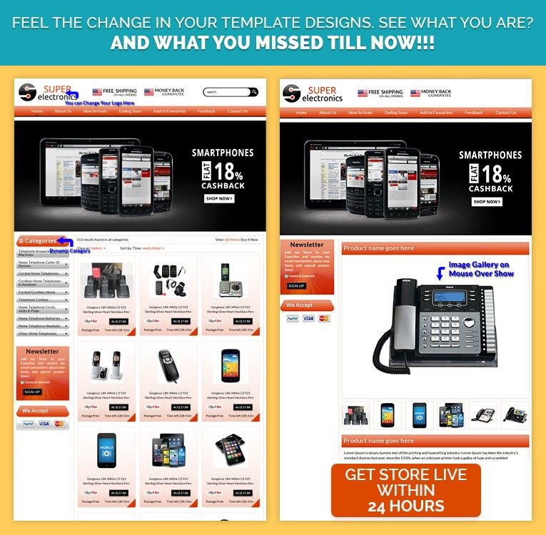 Smartphone Theme eBay Store  eBay Custom Listing Template Design - ebay store templates