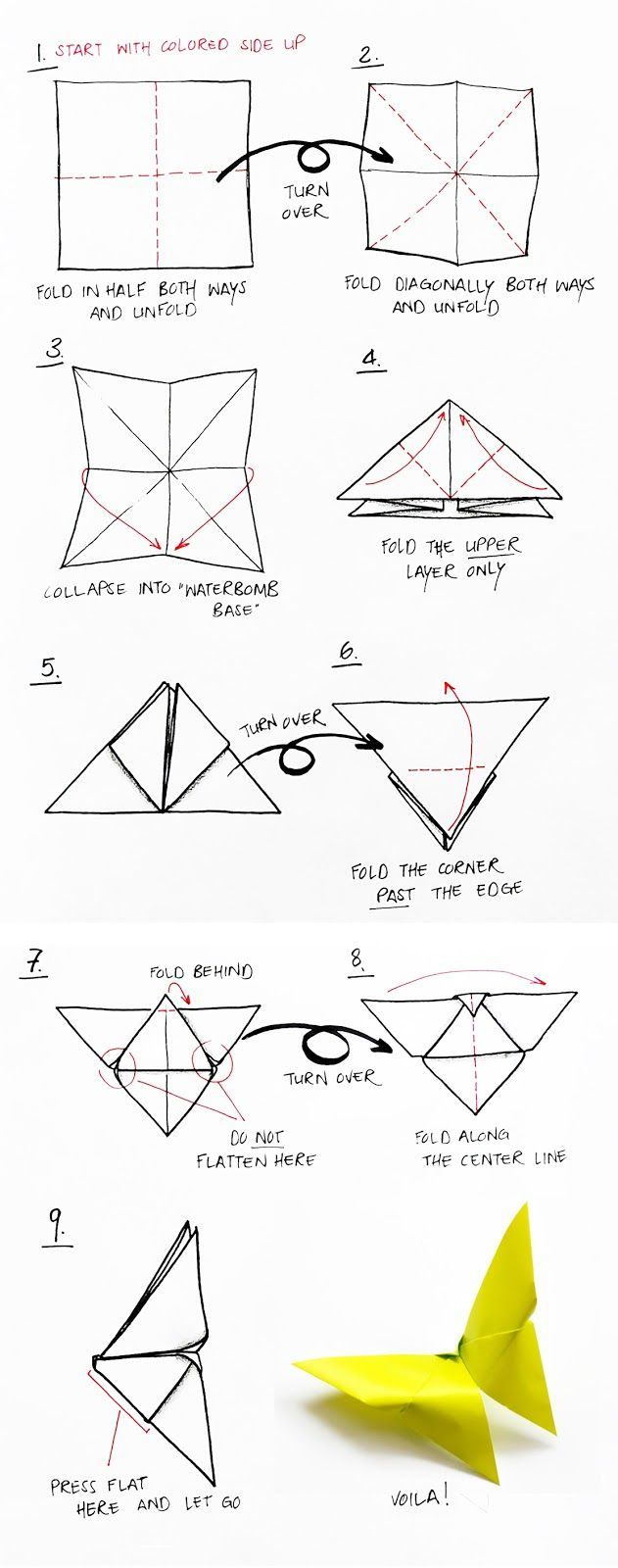 Origami Butterfly Directions Paper Craft Diagram Instructions