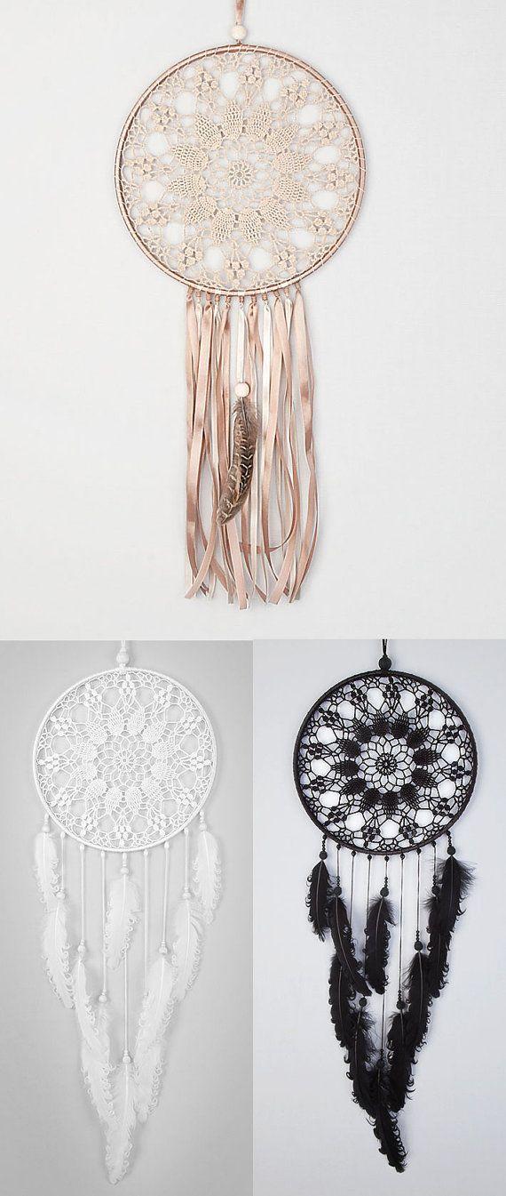 Large Beige Dream Catcher, Crochet Doily Dreamcatcher, boho dreamcatchers, sweet dreams, wall hanging, wall decor, wedding decor, handmade