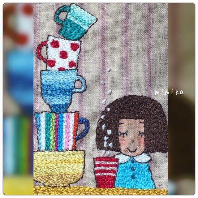完成 ╰(*´︶`*)╯♡ カラフルなティーカップの刺繍は楽しかった。 #刺繍 #手作り #ステッチ #ハンドメイド #embroidey #針仕事 #手刺繍 #刺しゅう