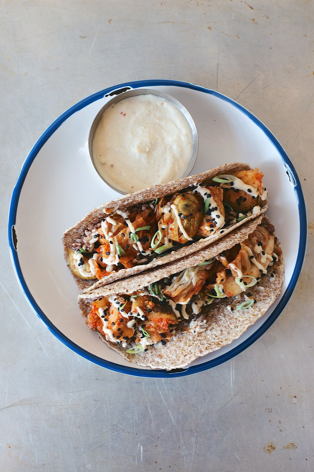 a makeover! + brussels sprout kimchi tacos w/ (cashew) miso crema — dolly | and | oatmeal