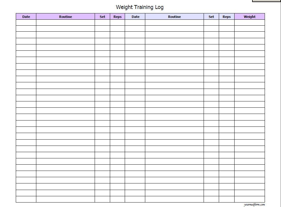 exercise logs / journals Printable Workout Logs New Calendar - Weight Training Log Template