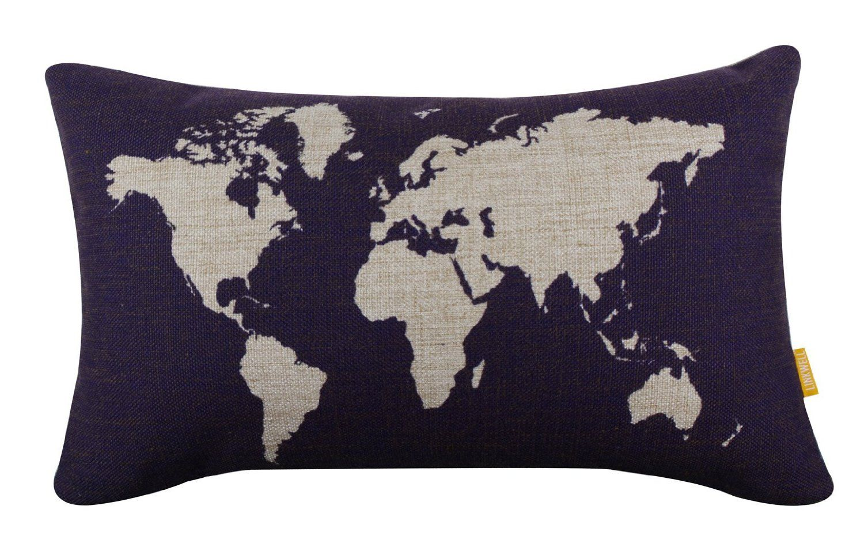 amazoncom linkwell 20 x 12 dark blue world map burlap pillow