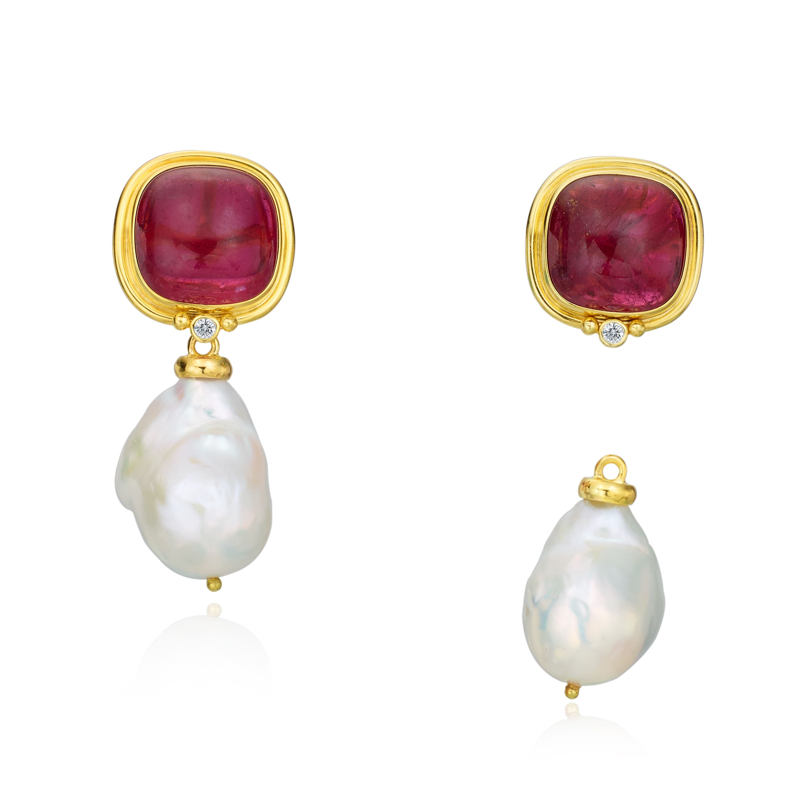 Yellow Gold Earrings With Semiprecious Stone And Diamonds And A Detachable  Pearl Drop Designed By The