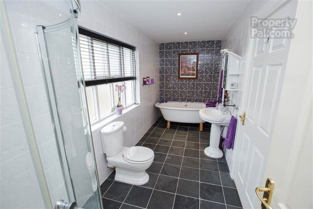 Grey White And Purple Bathroom