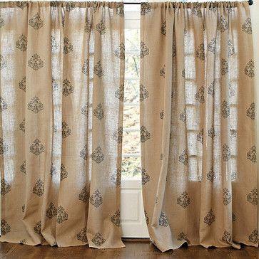 Printed Damask Burlap Panel   Traditional   Curtains   Ballard Designs