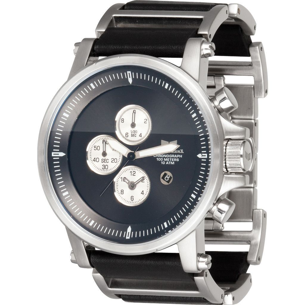 Vestal plexi leather watch brushed silverblackblack products