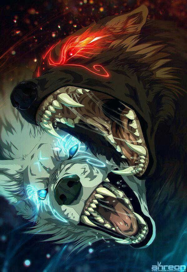 wolves blue red light black white cool anime