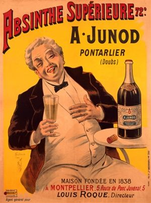 A Junod by Misti  Vintage Poster Reproduction. Absinthe poster features a white haired man seated at a cafe table with a large bottle, laughing as he holds his glass. Giclee Advertising Print. Classic Posters