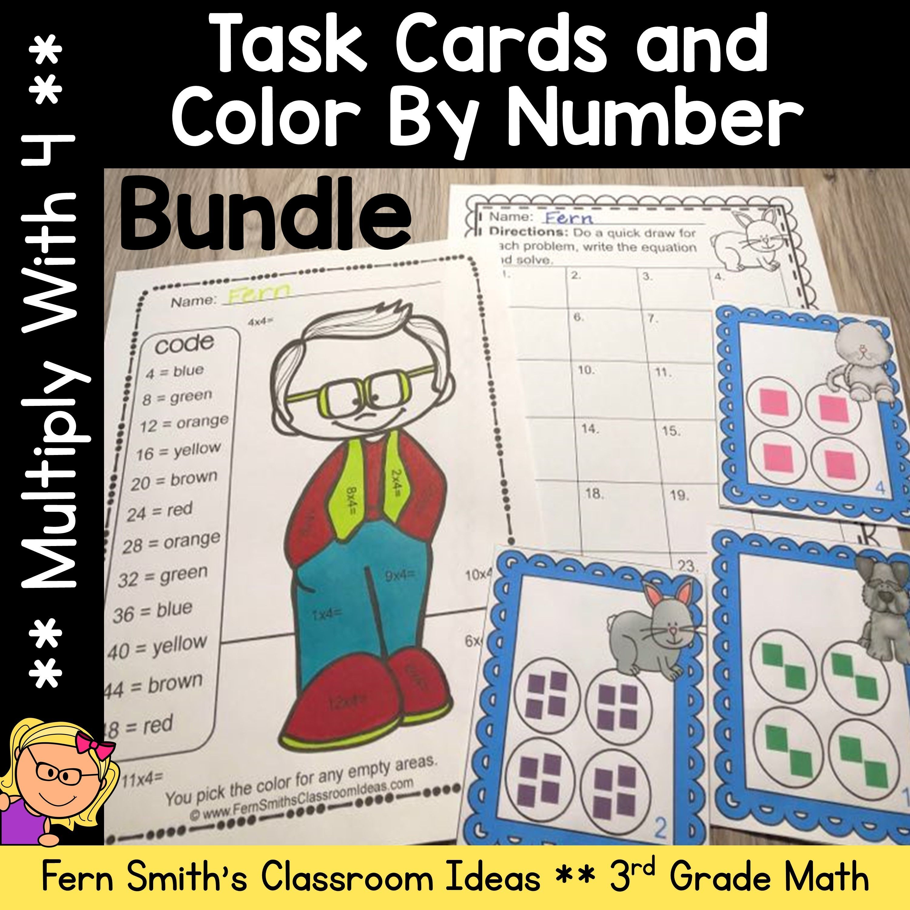 This 3rd Grade Go Math 4 1 Multiply With 4 Color By Number