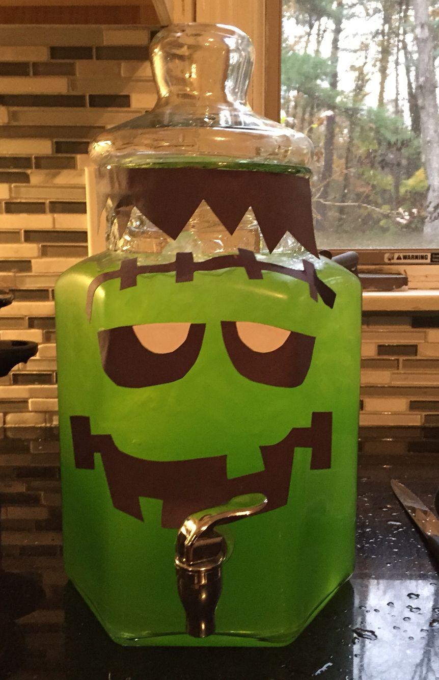 frankenstein punch (green hawaiian punch in drink dispenser with