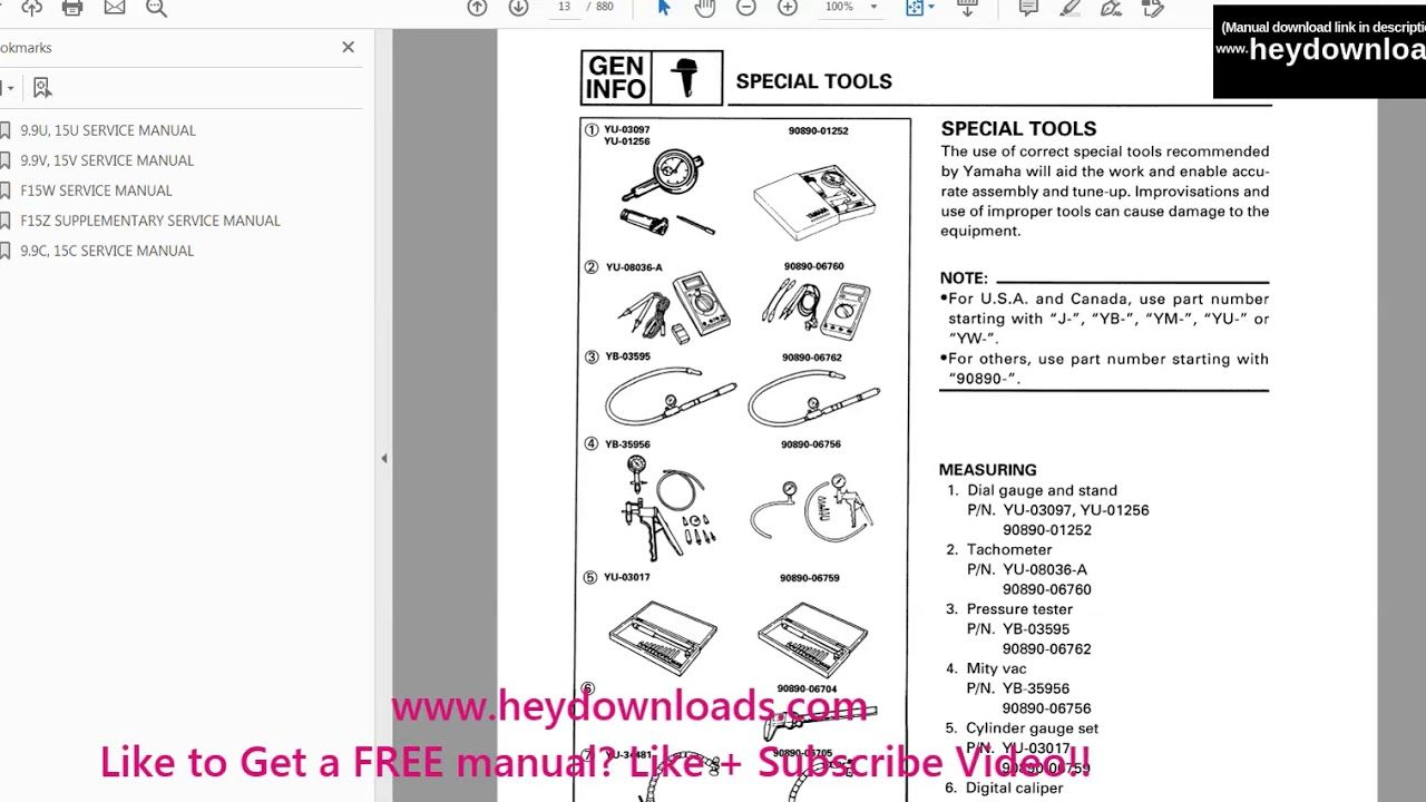 Yamaha Outboard 15hp 15 Hp 1996 2006 Service Manual Pdf Download Manual Outboard Repair Manuals