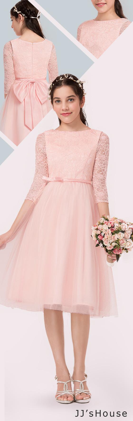 A-Line/Princess Scoop Neck Knee-Length Tulle Junior Bridesmaid Dress ...