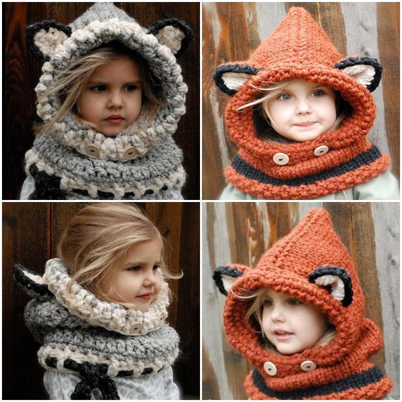 Kawaii Winter Toddler Baby Knitting Warm Scarf Hat Earflap Cap Beanie Gift