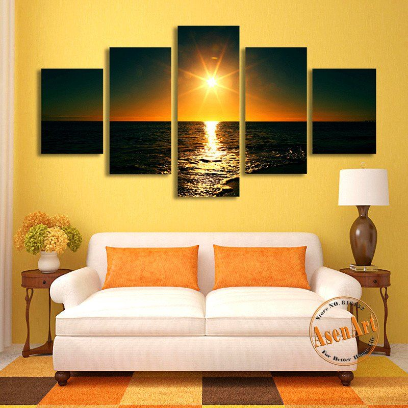 5 Panel Sunset Painting Seascape Canvas Painting Canvas Prints Home ...