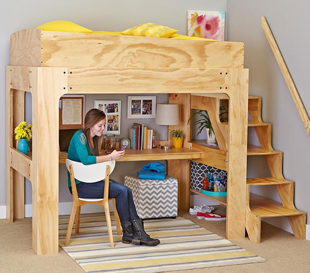 Loft bed with desk teenager  Loft Bed and Desk Woodworking Plan from WOOD Magazine  muebles