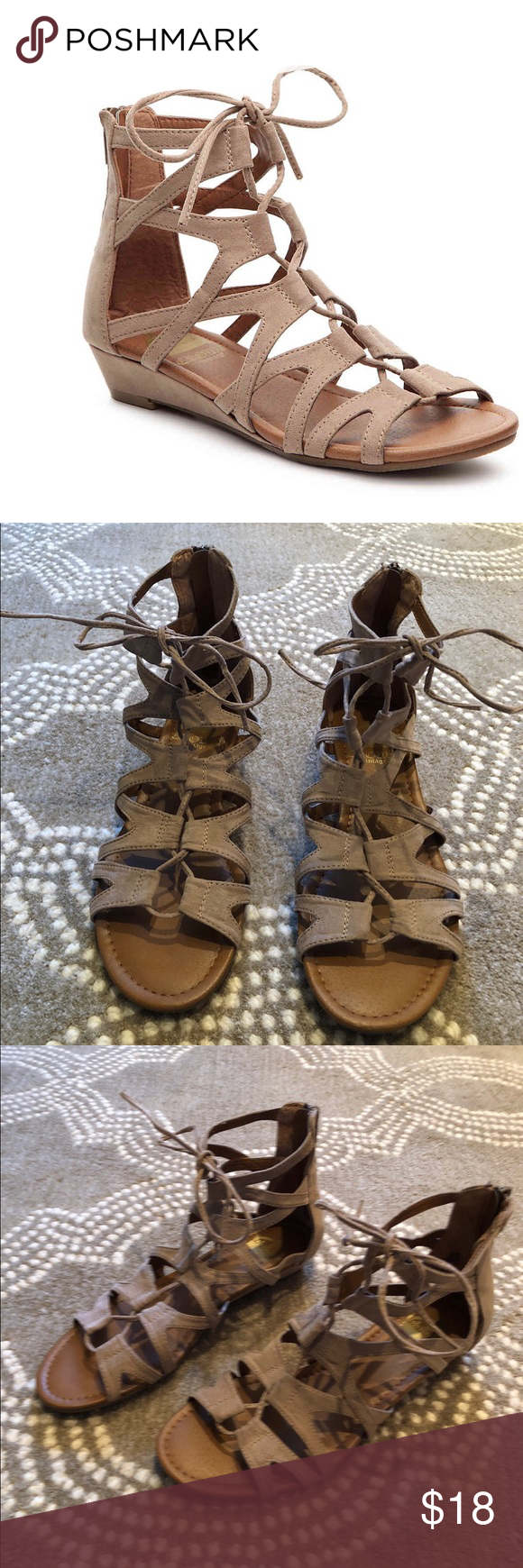 df0f753bafc1 Crown Vintage Gladiator sandals Crown Vintage Sarah Wedge Sandals are in  excellent condition. They are lace up with a back zipper. Taupe faux suede.