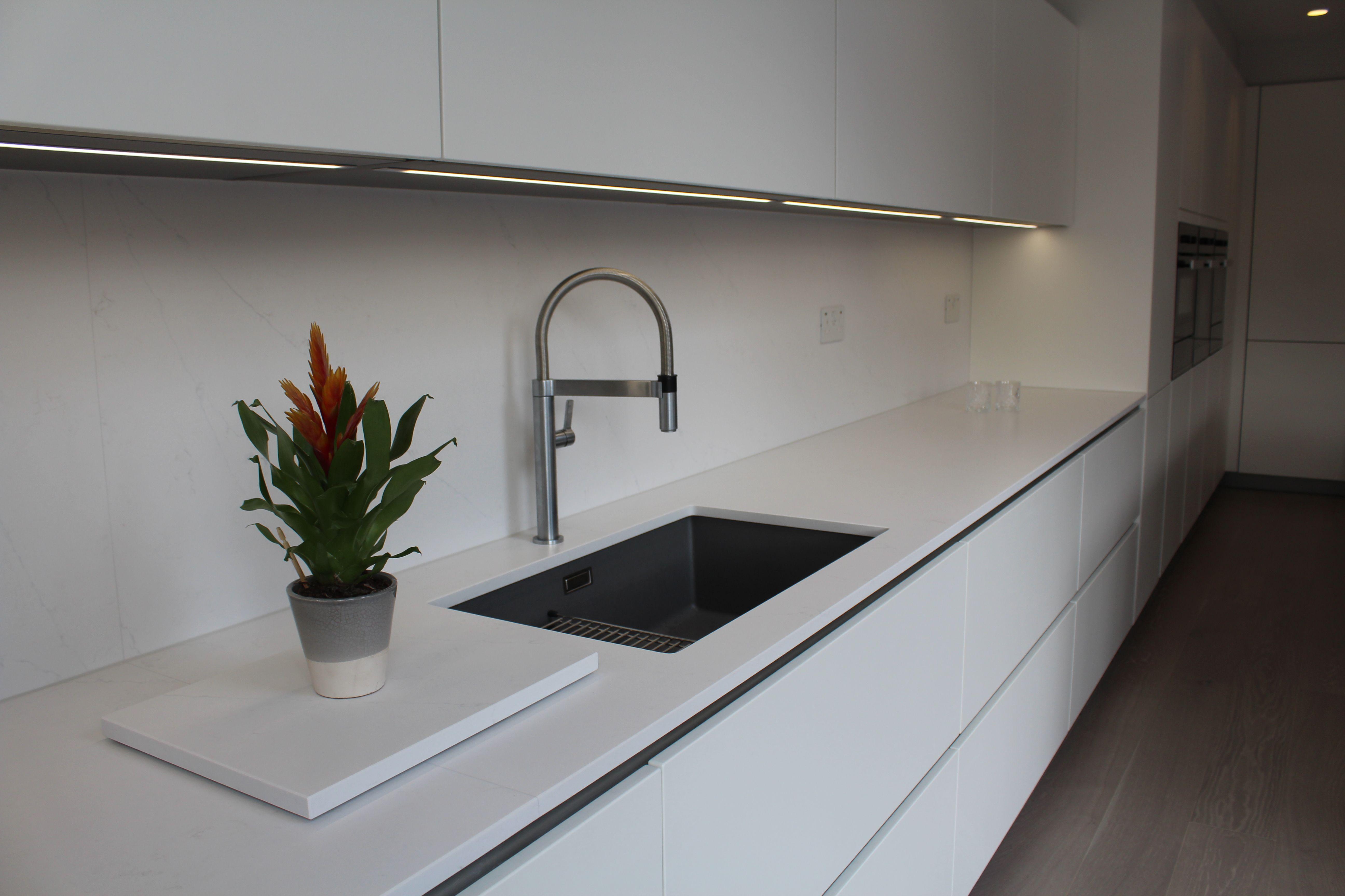 German Made True Handless Kitchen In Matt Blanco Sink And