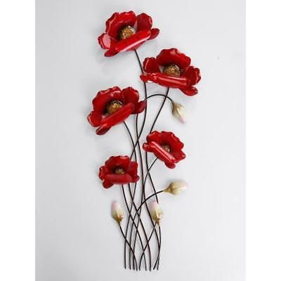 Wanddeko Wandbild Mohnblume Mit 5 Blueten Rot H 66cm Metall Formano In 2020 Flower Art Ceramic Art Art