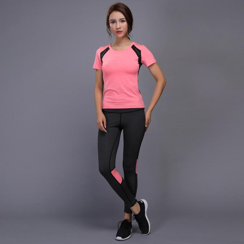 0be9569a2b7 BINTUOSHI Women Yoga Set Gym Fitness Clothes Tennis Shirt+Pants Running  Tight Jogging Workout Yoga Leggings Sport Suit plus size