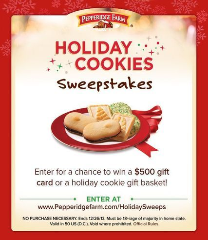 Pepperidge Farm Holiday Cookies Sweepstakes WIN a Holiday Cookie ...