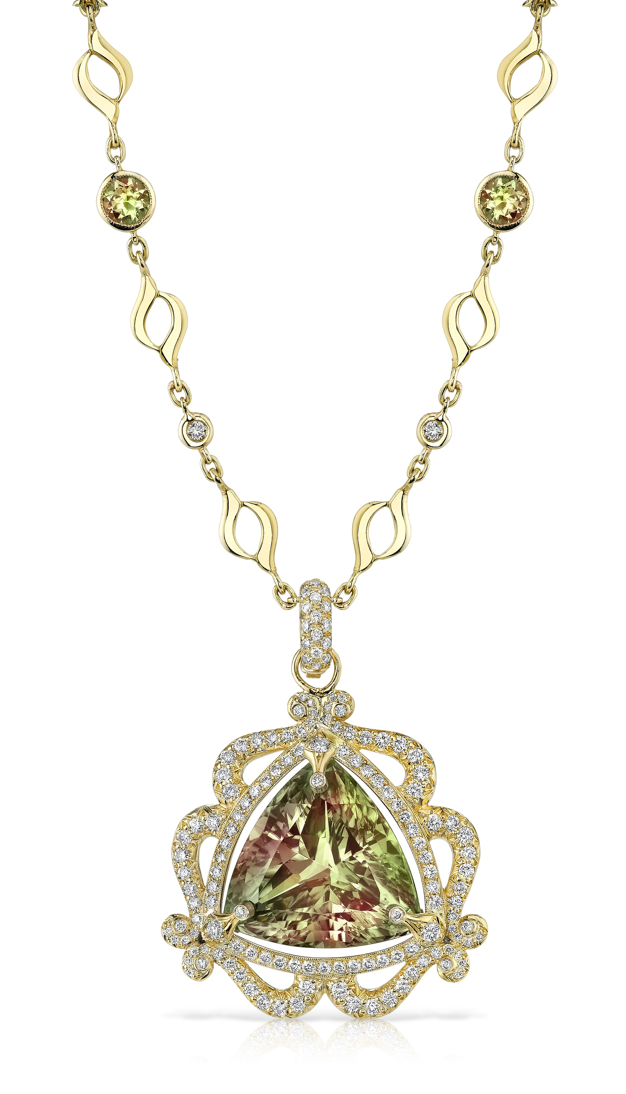 18k gold and diamond zultanite pyramid necklace by erica courtney 18k gold and diamond zultanite pyramid necklace by erica courtney aloadofball Images