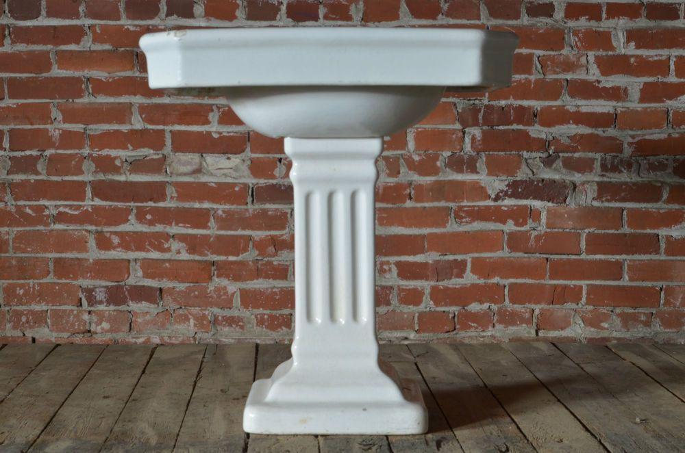 Vintage Antique Architectural Earthenware Bathroom Pedestal Sink Architectural Antiques Pedestal Sink Vintage Antiques