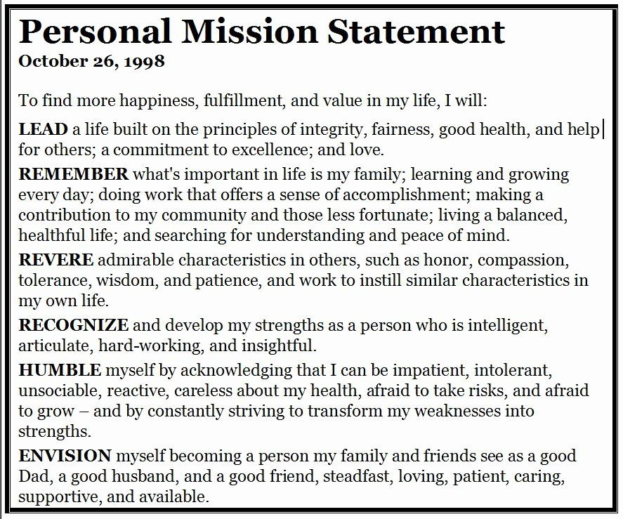 Personal Mission Statement Template for Students Lovely