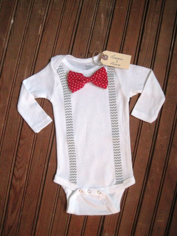 Long Sleeve Red Heart Bow Tie Onesie with Gray by LaddiesAndLasses, $19.50