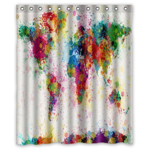 Special design world map paint splatter waterproof bathroom fabric special design world map paint splatter waterproof bathroom fabric shower curtainbathroom decor 60 gumiabroncs Image collections