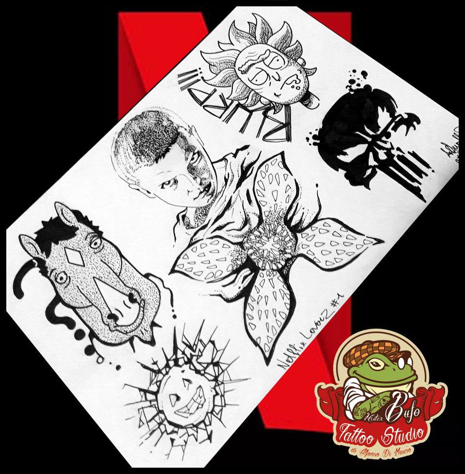 Netflix Lovers Flash Tattoo Collection Netflix Tattoo Tatuaffi Dotwork Dotworktattoo Bojackhorseman Blackm Dot Work Tattoo Future Tattoos Tattoo Artists