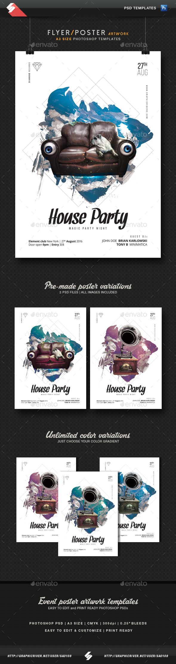 House Party - Minimal Flyer / Poster Templates A3 | Minimal ...