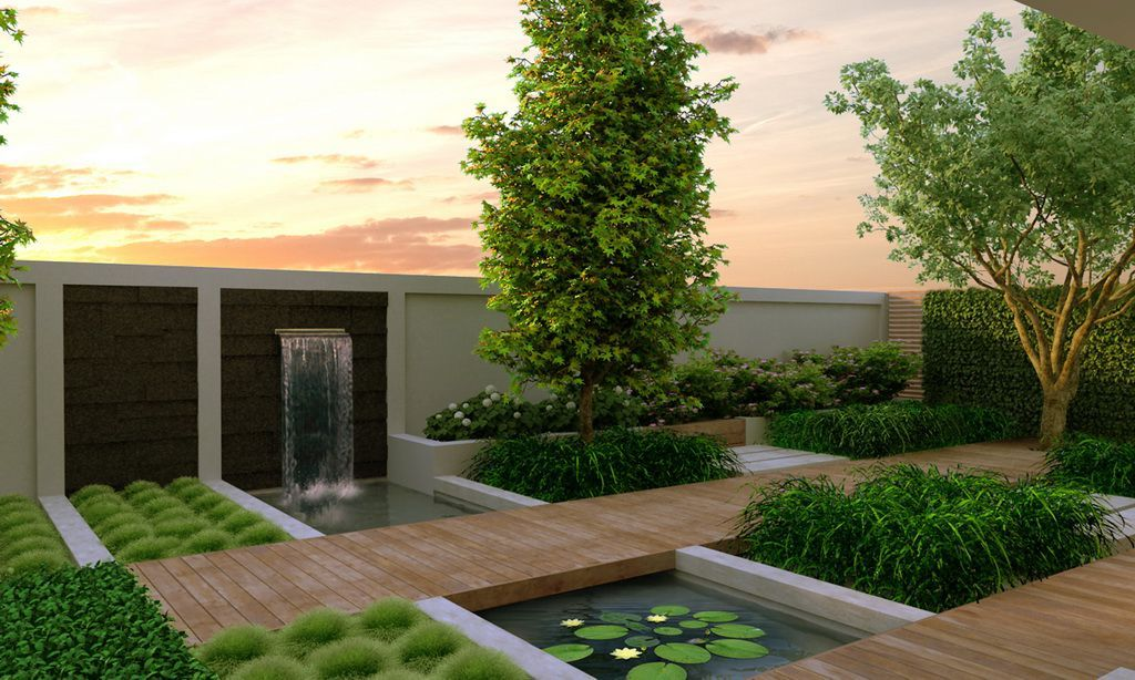 modern garden design ideas with pond using waterfall