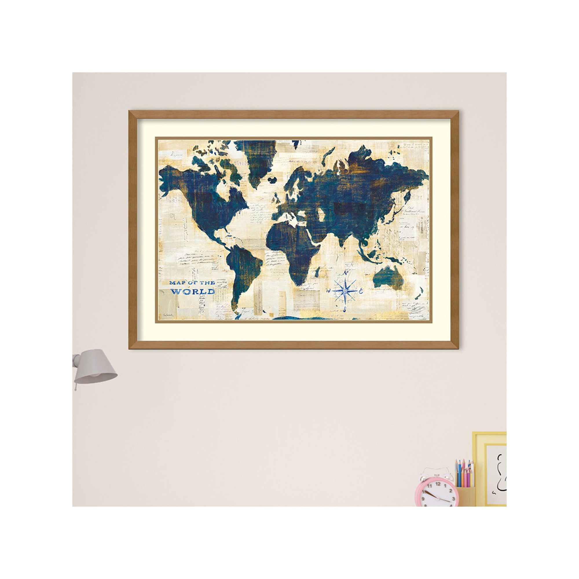 Amanti Art World Map Collage Framed Wall Art, Multicolor
