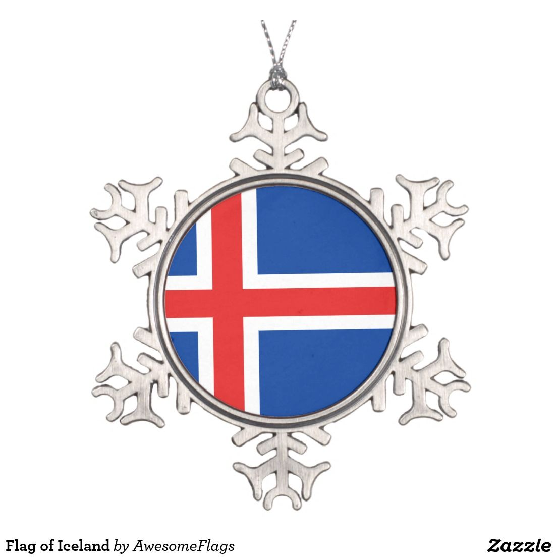 Flag of Iceland Snowflake Pewter Christmas Ornament | Snowflake ...