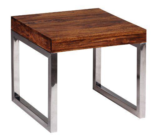 WOHNLING Beistelltisch Massiv Holz Sheesham Wohnzimmer Tisch Metallgestell  Couchtisch Landhaus Stil Dunkelbraun 45