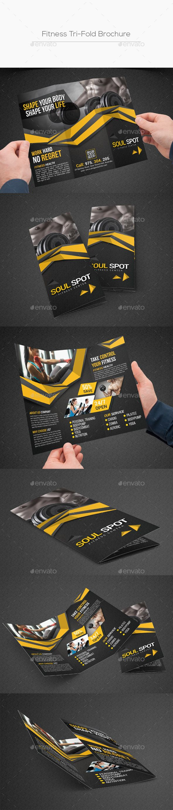 Fitness Tri-Fold Brochure Template PSD. Download here: http ...